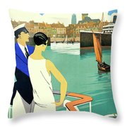 Dunkirk City, View From The Tourist Boat Throw Pillow