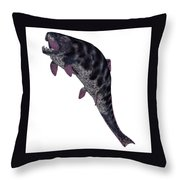 Dunkleosteus Fish On White Throw Pillow