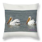 Duo Pelicans Throw Pillow
