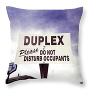 Duplex Yard Sign Stormy Sky Throw Pillow