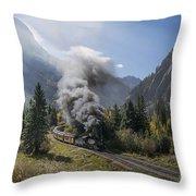 Durango And Silverton Train At Elk Park Wye Throw Pillow