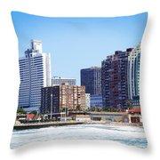 Durban Skyline From Bay Of Plenty Throw Pillow by Jeremy Hayden