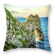 Durdle Dore - Ocean Rock Formation Throw Pillow