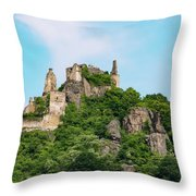Durnstein Castle And Stone Outcroppings Throw Pillow