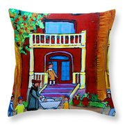 Durocher Street Montreal Throw Pillow