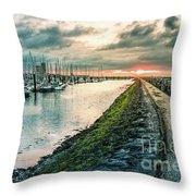 Dusk At Breskens Harbor Throw Pillow