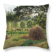 Dusk At Eragny Throw Pillow by Camille Pissarro