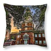 Dusk At Independence Hall Throw Pillow