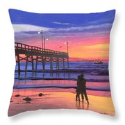 Dusk At The Pier Throw Pillow