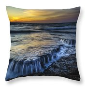 Dusk At Torregorda Beach San Fernando Cadiz Spain Throw Pillow