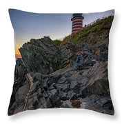 Dusk At West Quoddy Head Lighthouse Throw Pillow