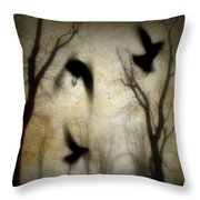 Dusk Begins As The Crows Fly Throw Pillow
