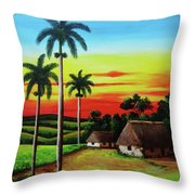 Dusk In A Cuban Countryside Throw Pillow