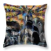 Dusk In The Church Square Throw Pillow