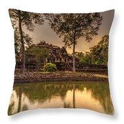 Dusk Light Preah Khan Temple Reflection Throw Pillow
