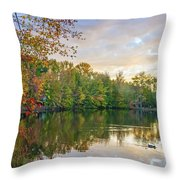 Dusk On Autumn Lake  Throw Pillow