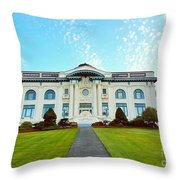 Dusk On Pacific County Historical Courthouse  Throw Pillow
