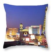 Dusk, The Strip, Las Vegas, Nevada, Usa Throw Pillow
