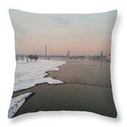 Dusseldorf Rhine In The Snow Throw Pillow