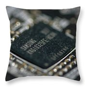 Dusty Motherboard Throw Pillow