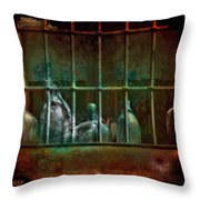 Dusty Old Bottles Throw Pillow