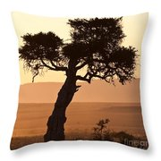 Dusty Sunset Over The Mara Throw Pillow