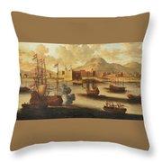 Dutch And English Warships Throw Pillow