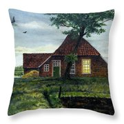 Dutch Farm At Dusk Throw Pillow