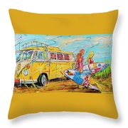 Dutch Holiday, Yellow Surf Bus Throw Pillow