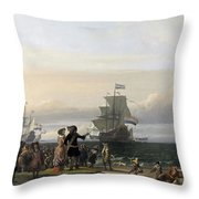 Dutch Ships In The Roads Of Texel Throw Pillow