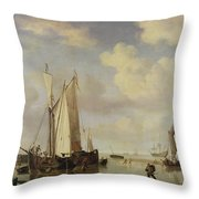 Dutch Vessels Inshore And Men Bathing Throw Pillow