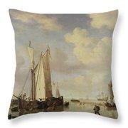 Dutch Vessels Inshore And Men Bathing Throw Pillow by Willem van de Velde