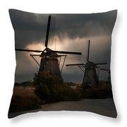 Dutch Windmills In Kinderdjik Throw Pillow