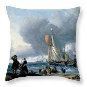 Dutchman Embarking Onto A Yacht Throw Pillow