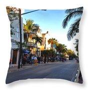 Duval Street In Key West Throw Pillow by Susanne Van Hulst
