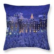 D.wiggett Banff Springs Hotel In Winter Throw Pillow