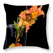 Dying Dahlia Flower Throw Pillow