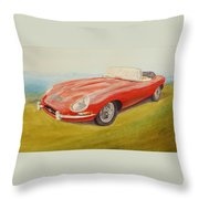 E-type Jaguar Throw Pillow