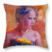 E With A Yellow Flower Throw Pillow