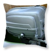 Vintage Silver Outboard Boat Motor Throw Pillow