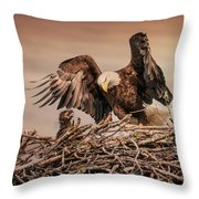 Bald Eagle And Eaglet In Nest Throw Pillow