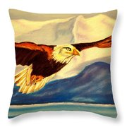 Eagle And Mountains Throw Pillow