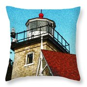 Eagle Bluff Lighthouse Re-imagined Throw Pillow