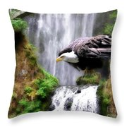 Eagle By The Waterfall Throw Pillow