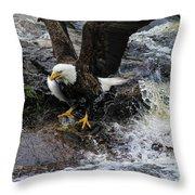 Eagle Catches Fish Throw Pillow