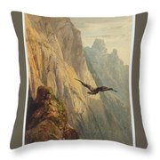 Eagle Circling Before A Cliff Face Throw Pillow