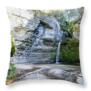 Eagle Cliff Falls Panorama Throw Pillow by William Norton