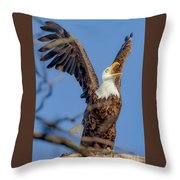 Eagle Excitement Throw Pillow