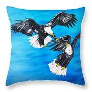 Eagle Fight Throw Pillow