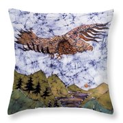 Eagle Flies Above Gorge Throw Pillow by Carol Law Conklin